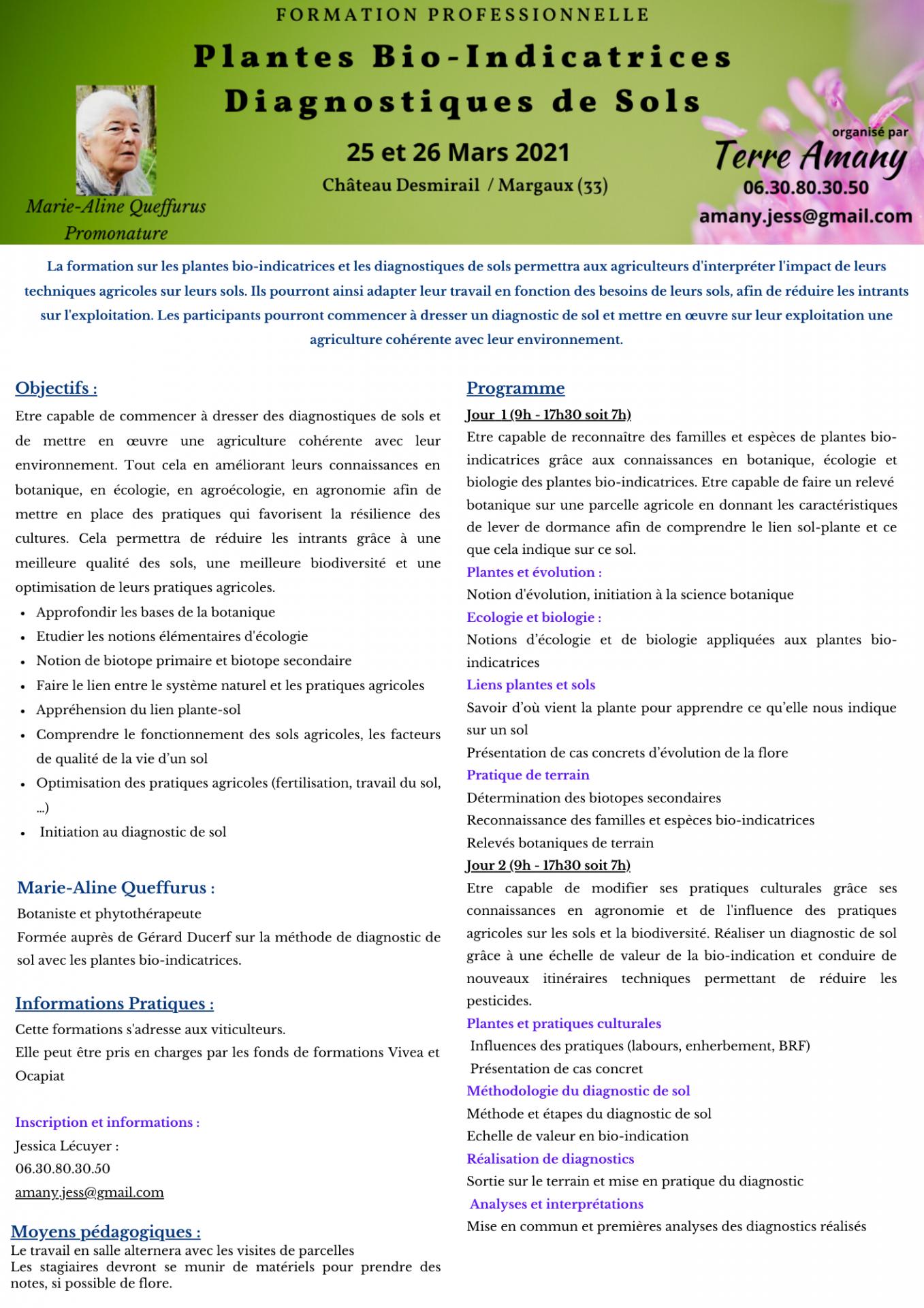 Programme formation plantes bio indicatrices
